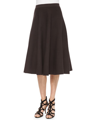 Pleated Midi Skirt, Chocolate