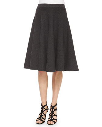 Pleated Midi Skirt, Charcoal
