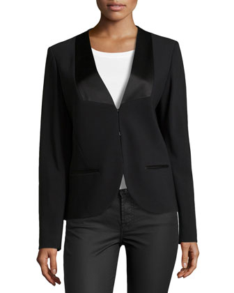 Long-Sleeve Tuxedo Jacket, Black