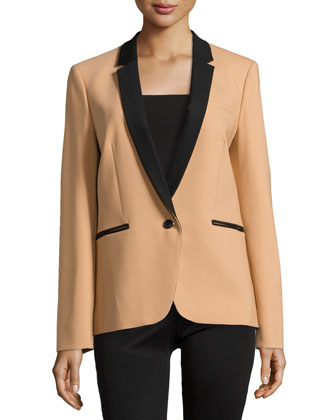 Single-Button Tuxedo Jacket, Suntan