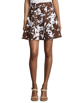 Flirt Printed A-Line Skirt, Optic White/Nutmeg