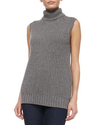 Sleeveless Ribbed Cashmere Sweater, Banker