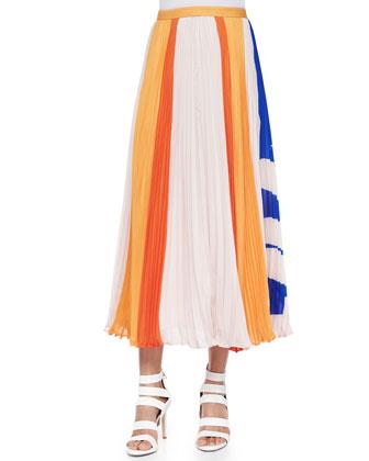 Carmen Flower-Stripes Midi Skirt