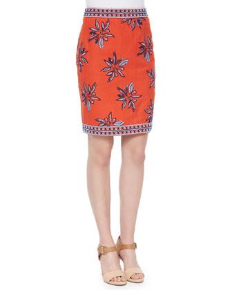 Francesca Floral-Embroidered Silk Skirt, Orange