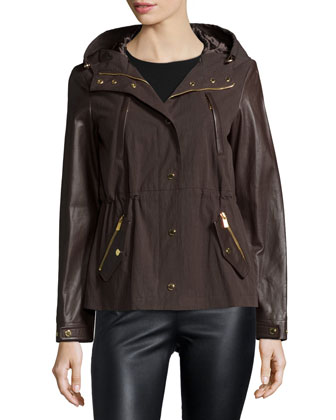 Leather-Sleeve Anorak Jacket, Chocolate