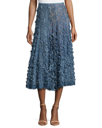 Floral Embroidered Dance Skirt, Blue