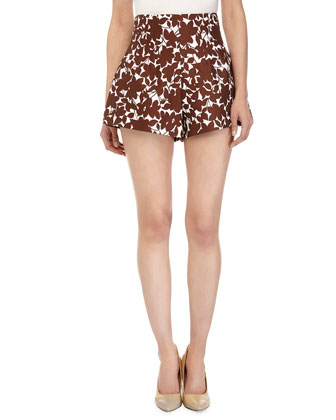 Printed High-Waist Shorts, Optic White/Nutmeg