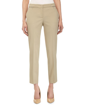 Samantha Zipper-Detail Ankle Pants, Sand