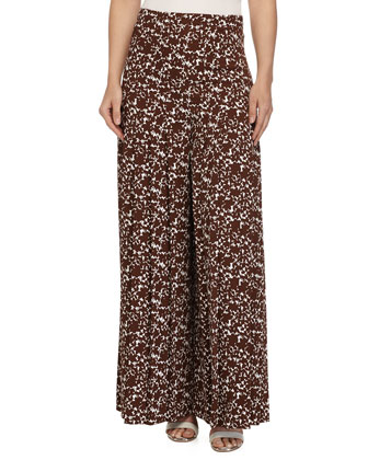 Knife-Pleat Printed Palazzo Pants, Optic White/Nutmeg