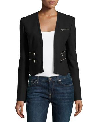 Cropped Zip-Detail Jacket, Black