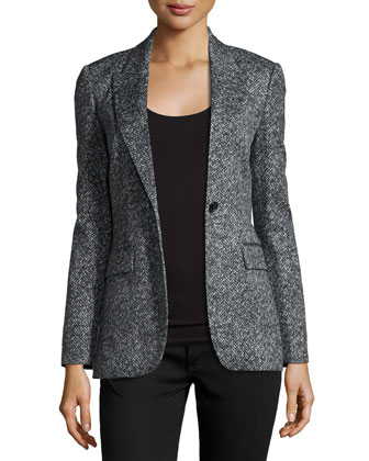 Herringbone One-Button Jacket, Slate