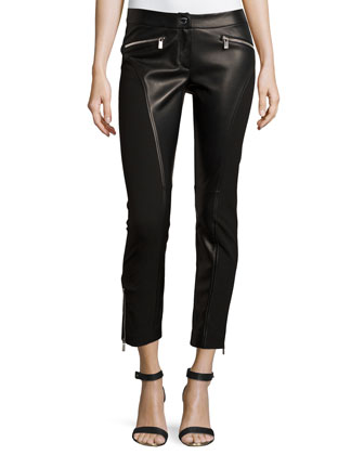 Zip-Detail Leggings, Black