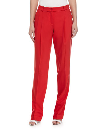 Pleated-Front Slouch Trousers, Scarlet