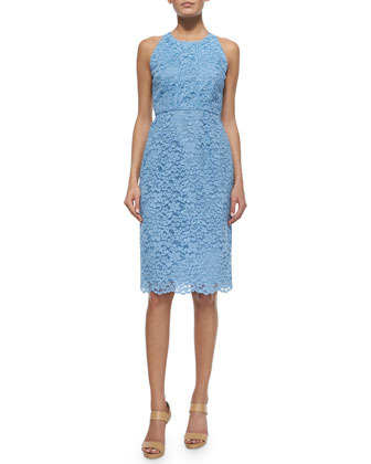 Sleeveless Lace Midi Dress, Periwinkle