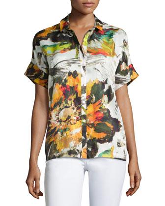 Floral-Print Short-Sleeve Blouse, Kale/Multi