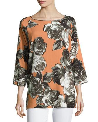 Laney Trellis Roses Top, Sienna/Multi