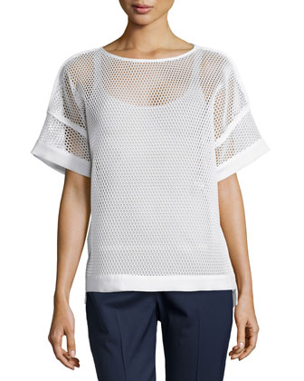 Mesh Short-Sleeve Blouse, White