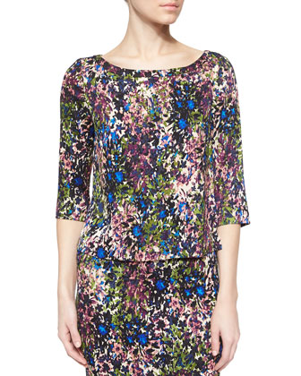 3/4-Sleeve Garden-Print Top & Garden-Print Pencil Skirt