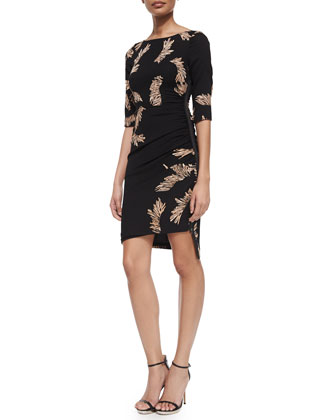 3/4-Sleeve Feather-Print Asymmetric-Hem Dress