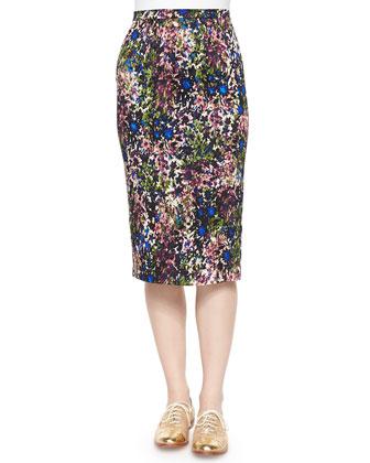 Garden-Print Pencil Skirt