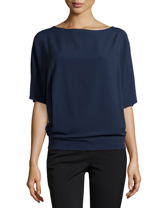 Elbow-Length-Sleeve Tunic, Indigo