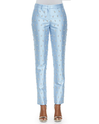 Samantha Embroidered Skinny Pants, Ice