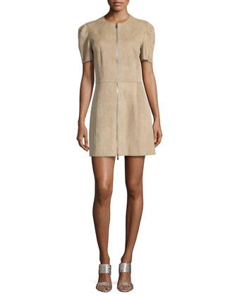 Short Puff-Sleeve Leather Mini Dress, Sand