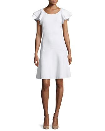 Ruffle-Sleeve Flounce Dress, White