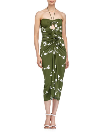 Floral-Print Bandeau Dress, Grass/Optic White