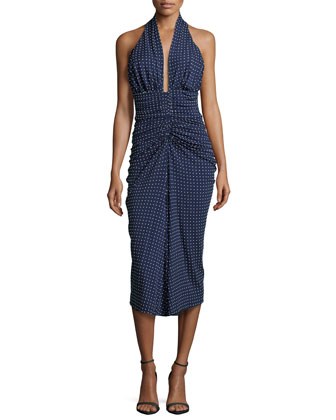Sleeveless Ruched Dotted Dress, Indigo