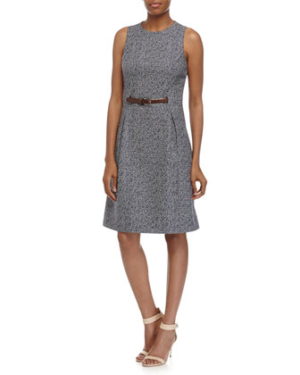 Belted A-Line Dress, Indigo/White