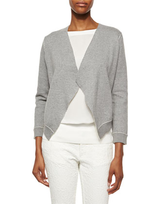 Structured Sweatshirt Jacket, Gray/White
