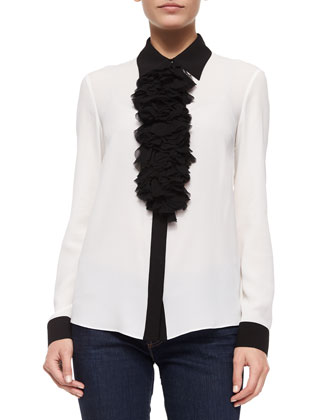 Ruffle-Front Long-Sleeve Blouse, White