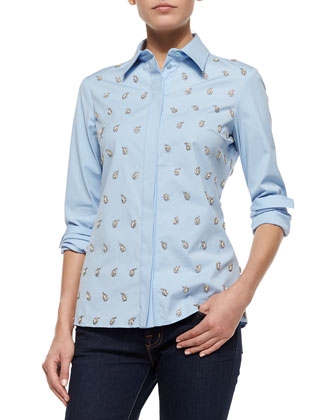 Embroidered Classic Button-Down Shirt, Ice