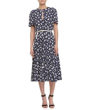 Floral-Print Belted Dress, Indigo/White
