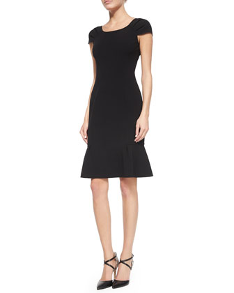 Cap-Sleeve Flounce Dress, Black