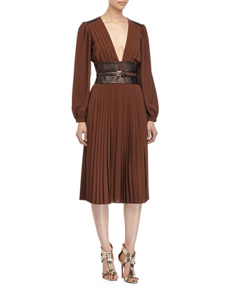 Slashed-Pleat Dress with Embossed Waist, Nutmeg