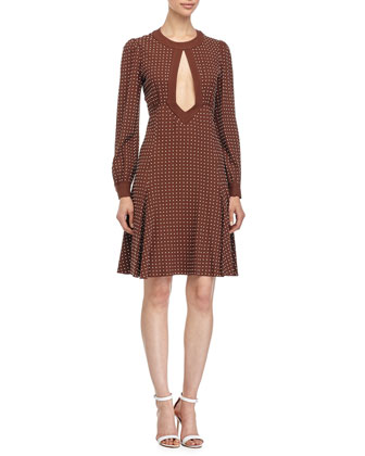Dot-Print Fit-&-Flare Dress, Nutmeg