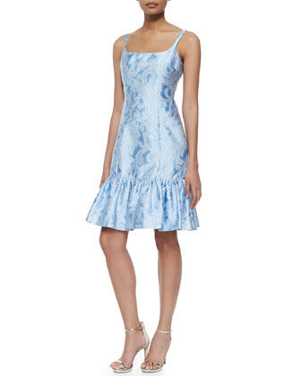 Sleeveless Flounce Dress, Ice/White