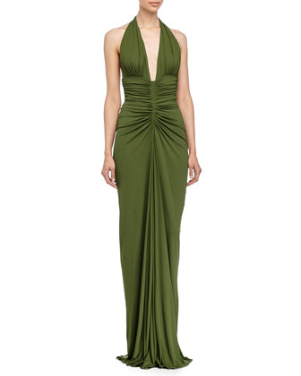 Sleeveless Ruched Gown, Grass