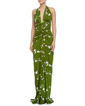 Sleeveless Floral-Print Ruched Gown, Grass/Optic White