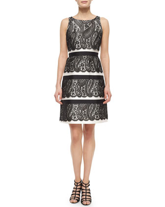 Lace Overlay Bell Dress, Black/White