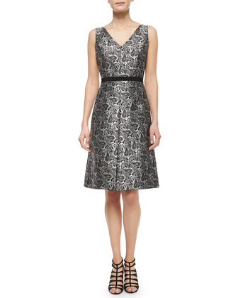 Sleeveless Paisley-Print Dress, Black/White