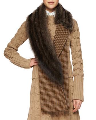 Cashmere-Blend Mixed-Knit Sweater, Sleeveless Poplin Button Blouse, ...