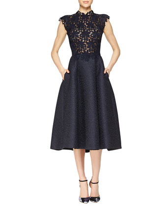 Guipure Lace & Jacquard Fit-And-Flare Dress