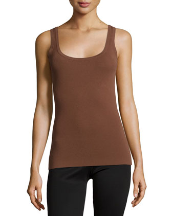 Scoop-Neck Fitted Tank Top, Nutmeg