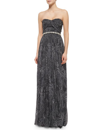 Strapless Embroidered Gown, Black/Slate