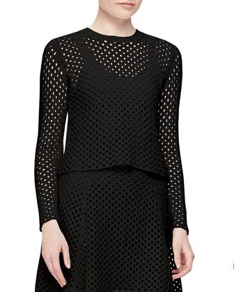 Krezia Netted Long-Sleeve Top, Black