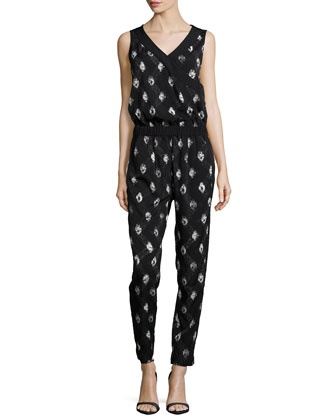 Milly Printed Tuxedo Jumpsuit