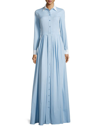 Two-Tone Button-Down Shirt Gown, Ice